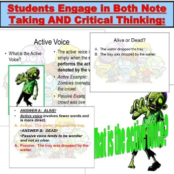 Halloween Grammar with Zombies: Active and Passive Voice PowerPoint