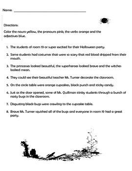 Halloween Grammer Label - nouns, verbs, adjectives and pronouns