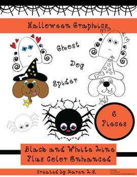 Halloween Graphics of Dog, Ghost, and Spider