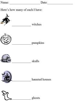 Halloween Graphing With Pictures; Cut and Paste Activity; modified curriculum
