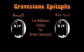 Halloween Gravestone Creative Writing for British Literature