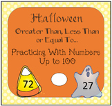 Halloween Greater Than Less Than Pages and Number Mats Usi