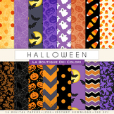 Halloween  Green leaves Digital Paper, scrapbook backgrounds