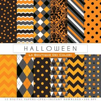 Orange and Black Halloween Seamless Digital Paper, scrapbook backgrounds
