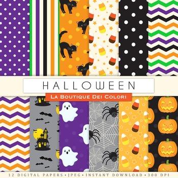 Cute Halloween Seamless Digital Paper, scrapbook backgrounds