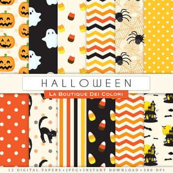 Orange and Black Halloween Digital Paper, scrapbook backgrounds