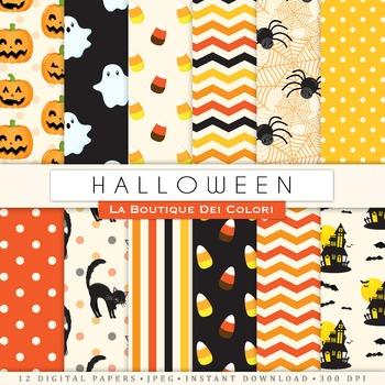 Orange and Black Halloween Digital Paper, scrapbook backgrounds