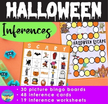 Halloween Bingo | Inference Picture Activities | Task Cards | Mixed Groups