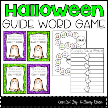 Halloween Guide Word Literacy Center Task Cards