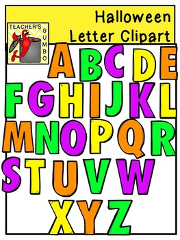 Halloween Gumbo Letters and Numbers Clipart