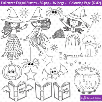 Halloween / Halloween Theme Stamps / Clip Art / Colouring Page (S13)
