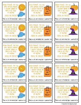 Halloween Hand-out Cards for Nonverbal Individuals