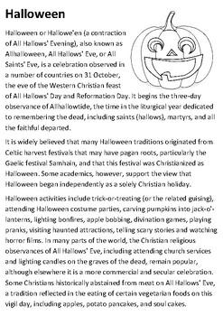 Halloween Handout with activities