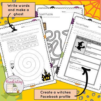 Early Years Halloween Handwriting Activities for Kindergarten, Grade 1 and 2