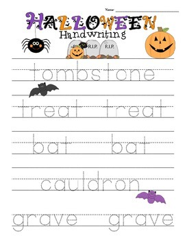 Halloween Handwriting Packet