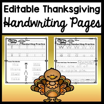 Thanksgiving Handwriting Practice that is Editable! {Write Letters or Words}