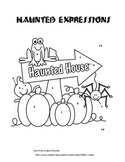 Halloween Haunted Expressions Coloring Activity-Writing Ex