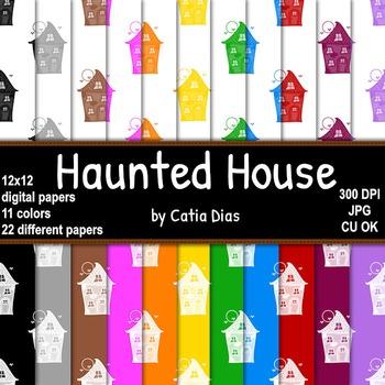 Halloween - Haunted House - 22 Digital Papers