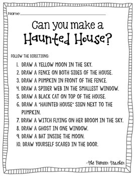 haunted house halloween activity follow the directions by kids and coffee. Black Bedroom Furniture Sets. Home Design Ideas