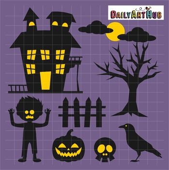 Halloween Haunted House Clip Art - Great for Art Class Projects!