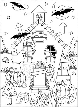 Halloween Haunted House Coloring Page By Ratselmeister Tpt