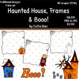 Halloween - Haunted House, Frames and Booo! Clip Art