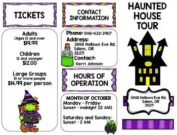 Halloween Haunted House Tour Brochure {100% Editable} {Reading} {Writing}