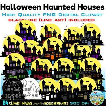 Halloween Haunted Houses Clip Art for Personal and Commercial Use