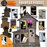 Halloween Haunted Houses and Haunted Windows Clip Art
