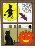 Halloween Haunted Window, 4 Quadrants, Mystery Picture:Dis
