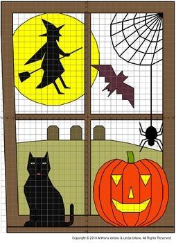 Halloween, Haunted Window, Coordinate Drawing, Coordinate