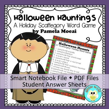"""Halloween Hauntings """"Scattergories-type"""" Word Game (PPT and Smart Notebook)"""