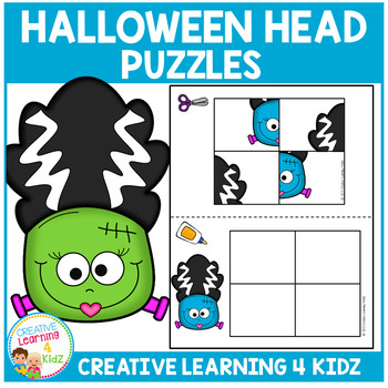 Cut and Paste Fine Motor Puzzles: Halloween Heads