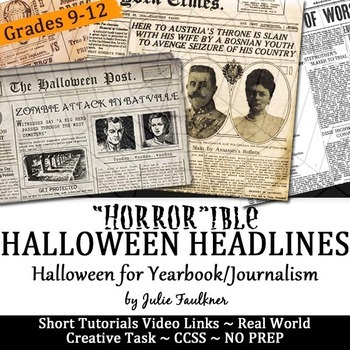 Halloween Headline Writing Practice for Yearbook or Newspaper, NO PREP