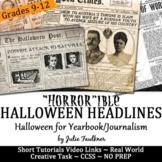 Halloween Headline Writing Practice for Yearbook or Journalism, NO PREP