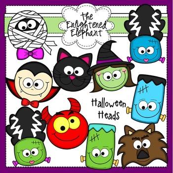 Halloween Heads Clip Art