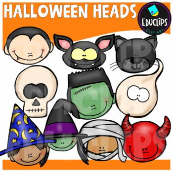 Halloween Heads Clip Art Bundle {Educlips Clipart}