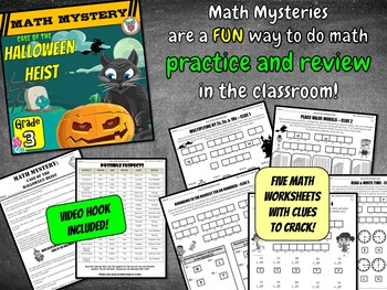 Halloween Heist Math Mystery Game - 3rd Grade Math Worksheets Activity Pack