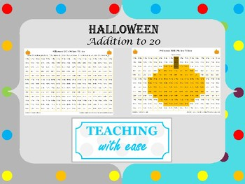 Halloween Hidden Picture Math: Addition Facts to 20
