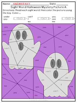 Halloween High Frequency Sight Word Mystery Pictures