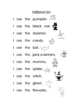 Hallowe'en High Frequency Words Book for Kindergarten