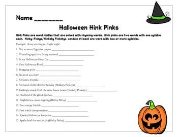 Halloween Hink Pinks Vocabulary Riddles