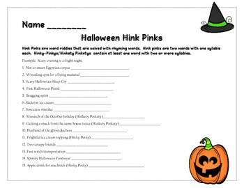 Halloween Hink Pinks Vocabulary Riddles