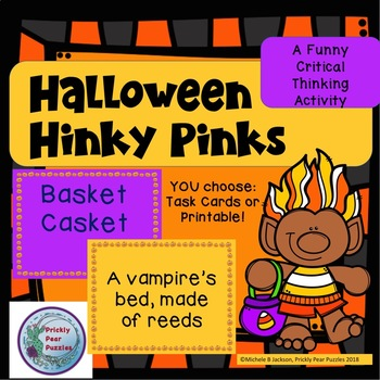 Halloween Hinky Pinks, Rhyming Word Riddles, Fall Games, Rhyme Puzzle