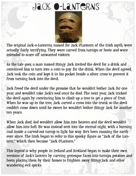 Halloween History Game for Grades 4-8