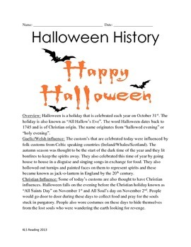 Halloween History - Review Article Questions Vocabulary Lesson Activities