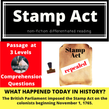 Stamp Act Differentiated Reading Passage, Nov 1