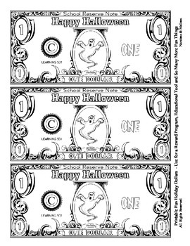 Halloween Holiday Dollars - Teach Money, Use for Rewards, Support Centers & More