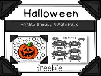 Halloween Holiday Literacy & Math Pack FREE