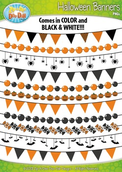 Halloween Holiday Pendant Banners Clip Art Set — Includes 16 Graphics!